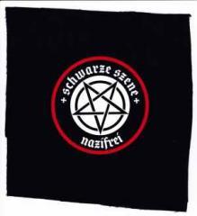 """Zum Aufnäher """"Schwarze Szene Nazifrei - Weißes Pentagramm"""" für 1,46 € gehen."""