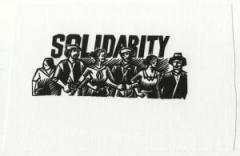 """Zum Aufnäher """"Solidarity"""" für 1,50 € gehen."""