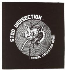 """Zum Aufnäher """"Stop Vivisection! Animal Liberation Now!!!"""" für 1,10 € gehen."""