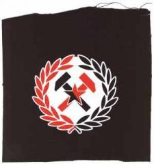"""Zum Aufnäher """"Working Class Hammer (rot/schwarz)"""" für 1,46 € gehen."""