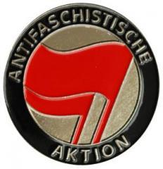 """Zum Anstecker / Pin """"Antifaschistische Aktion (rot/rot)"""" für 3,00 € gehen."""