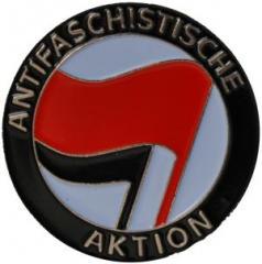 """Zum Anstecker / Pin """"Antifaschistische Aktion (rot/schwarz)"""" für 3,00 € gehen."""