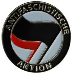 """Zum Anstecker / Pin """"Antifaschistische Aktion (schwarz/rot)"""" für 3,00 € gehen."""