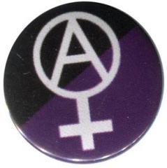 """Zum 50mm Button """"Anarcho-Feminismus (schwarz/lila)"""" für 1,17 € gehen."""