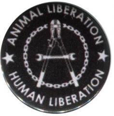 """Zum 50mm Button """"Animal Liberation - Human Liberation (Zange)"""" für 1,20 € gehen."""