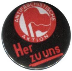 """Zum 50mm Button """"Antifaschistische Aktion her zu uns"""" für 1,17 € gehen."""