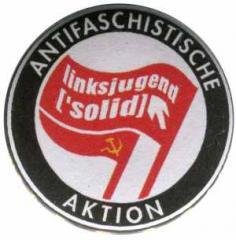 """Zum 50mm Button """"Antifaschistische Aktion Linksjugend"""" für 1,40 € gehen."""