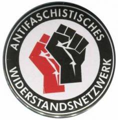 """Zum 50mm Button """"Antifaschistisches Widerstandsnetzwerk - Fäuste (rot/schwarz)"""" für 1,40 € gehen."""