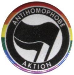 """Zum 50mm Button """"Antihomophobe Aktion (schwarz/schwarz)"""" für 1,20 € gehen."""