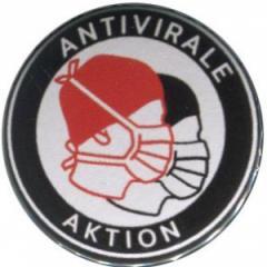 """Zum 50mm Button """"Antivirale Aktion - Mundmasken"""" für 1,20 € gehen."""
