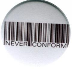 """Zum 50mm Button """"Barcode - Never conform"""" für 1,20 € gehen."""