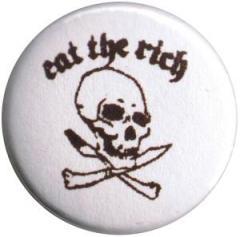 """Zum 50mm Button """"Eat the rich (Totenkopf)"""" für 1,17 € gehen."""