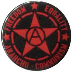 """Zum 50mm Button """"Freedom - Equality - Anarcho - Communism"""" für 1,17 € gehen."""