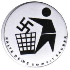"""Zum 50mm Button """"Halte Deine Umwelt sauber (weiß)"""" für 1,17 € gehen."""