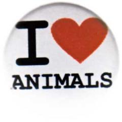 """Zum 50mm Button """"I love animals"""" für 1,17 € gehen."""