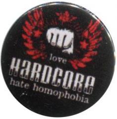 """Zum 50mm Button """"mixed sexual arts love Hardcore - hate homophobia"""" für 1,20 € gehen."""