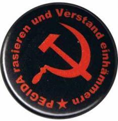 """Zum 50mm Button """"Pegida rasieren und Verstand einhämmern"""" für 1,20 € gehen."""