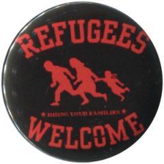 """Zum 50mm Button """"Refugees welcome (rot)"""" für 1,20 € gehen."""