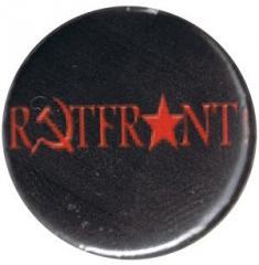 """Zum 50mm Button """"Rotfront! (schwarz)"""" für 1,17 € gehen."""
