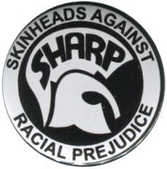 """Zum 50mm Button """"Sharp - Skinheads against Racial Prejudice"""" für 1,20 € gehen."""
