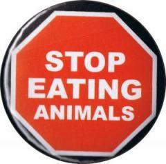 """Zum 50mm Button """"Stop Eating Animals"""" für 1,20 € gehen."""
