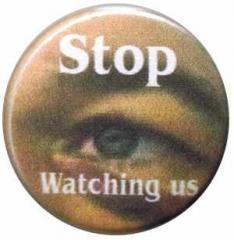 """Zum 50mm Button """"Stop watching us"""" für 1,20 € gehen."""