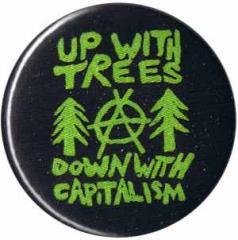 """Zum 50mm Button """"Up with Trees - Down with Capitalism"""" für 1,17 € gehen."""
