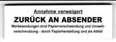 """Zum Spucki / Schlecki / Papieraufkleber """"Annahme verweigert - zurück an Absender"""" für 1,00 € gehen."""