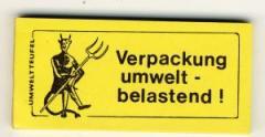 """Zum Spucki / Schlecki / Papieraufkleber """"Verpackung umweltbelastend!"""" für 1,00 € gehen."""
