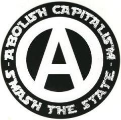 """Zum Aufkleber """"Abolish capitalism - Smash the state"""" für 1,00 € gehen."""