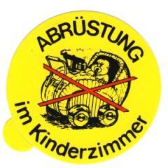 """Zum Aufkleber """"Abrüstung im Kinderzimmer"""" für 1,00 € gehen."""