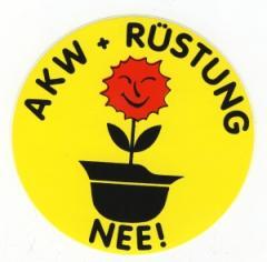 """Zum Aufkleber """"AKW + Rüstung Nee!"""" für 1,00 € gehen."""