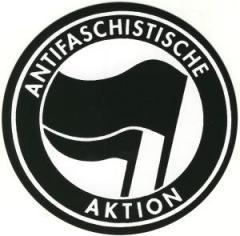 """Zum Aufkleber """"Antifaschistische Aktion (schwarz/schwarz)"""" für 0,97 € gehen."""