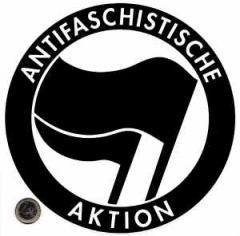"""Zum Aufkleber """"Antifaschistische Aktion (schwarz/schwarz, 21cmx21cm)"""" für 2,80 € gehen."""