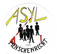"""Zum Aufkleber """"Asyl ist Menschenrecht"""" für 0,97 € gehen."""
