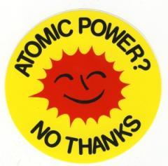 """Zum Aufkleber """"Atomic Power? No Thanks"""" für 1,00 € gehen."""