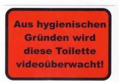 """Zum Aufkleber """"Aus hygienischen Gründen wird diese Toilette videoüberwacht!"""" für 1,00 € gehen."""