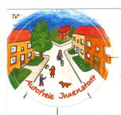 """Zum Aufkleber """"Autofreie Innenstadt"""" für 1,00 € gehen."""
