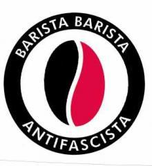 """Zum Aufkleber """"Barista Barista Antifascista (Bohne)"""" für 1,00 € gehen."""