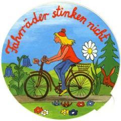 """Zum Aufkleber """"Fahrräder stinken nicht"""" für 1,00 € gehen."""