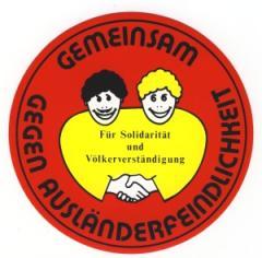 """Zum Aufkleber """"Gemeinsam gegen Ausländerfeindlichkeit"""" für 1,00 € gehen."""