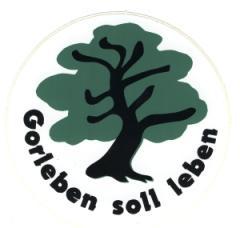 """Zum Aufkleber """"Gorleben soll leben"""" für 1,00 € gehen."""