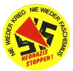 """Zum Aufkleber """"Neonazis stoppen!"""" für 0,97 € gehen."""