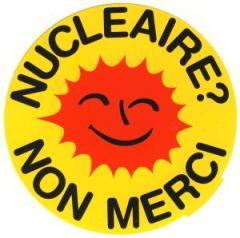 """Zum Aufkleber """"Nucleaire? Non merci"""" für 0,97 € gehen."""