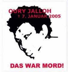 """Zum Aufkleber """"Oury Jalloh - 7. Januar 2005"""" für 0,97 € gehen."""