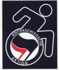"""Zum Aufkleber """"RollifahrerIn Antifaschistische Aktion (schwarz/rot)"""" für 0,97 € gehen."""