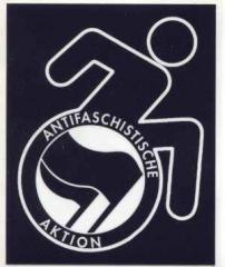 """Zum Aufkleber """"RollifahrerIn Antifaschistische Aktion (schwarz/schwarz)"""" für 0,97 € gehen."""