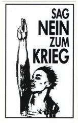 """Zum Aufkleber """"Sag nein zum Krieg"""" für 1,00 € gehen."""