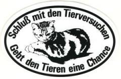 """Zum Aufkleber """"Schluß mit den Tierversuchen"""" für 0,97 € gehen."""