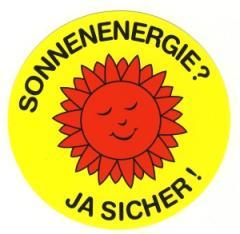 """Zum Aufkleber """"Sonnenenergie? Ja sicher!"""" für 0,97 € gehen."""